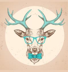 hipster animal deer hand drawing muzzle deer vector image