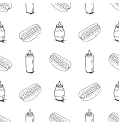 Hotdogs Hand Drawn Seamless Pattern vector image
