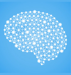 Human brain isolated on a blue background vector