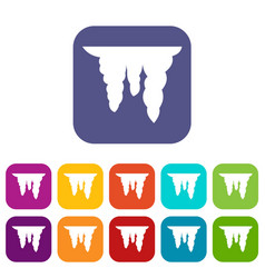 Icicles icons set vector