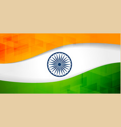 indian flag banner with geometric pattern vector image