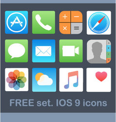 Ios 9 icons free vector