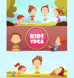 Kids yoga horizontal banners vector