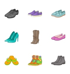 Kind of shoes icons set cartoon style vector