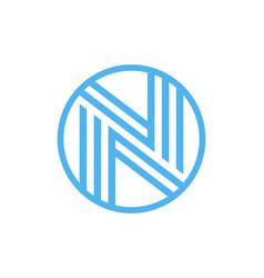 letter n logo circle shape symbol green and blue vector image