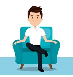 man sitting on sofa icon vector image