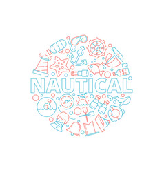marine concept nautical pictures fish boat sea vector image