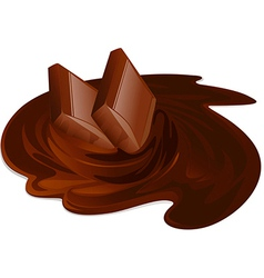 Melting chocolate bars chocolate cream and sticks vector