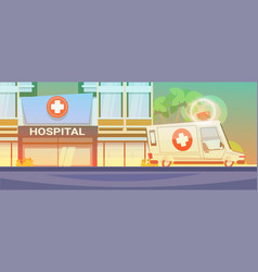 modern hospital building view with ambulance car vector image