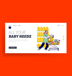 Naughty hyperactive baby character landing page vector