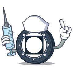 Nurse byteball bytes coin character cartoon vector