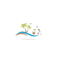 palm tree beach tropic logo vector image