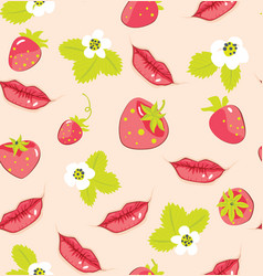 pattern with strawberry and lips vector image