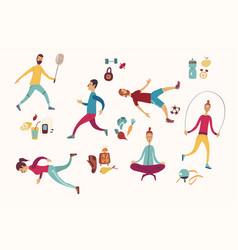 People sport activities dieting fitness vector