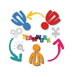 pictograms puzzle teamwork support design vector image
