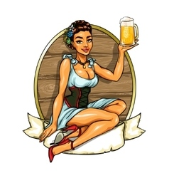 Pretty girl with beer label vector image