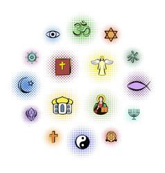 Religion comics icons set vector