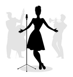 retro singer woman silhouette with musicians in vector image