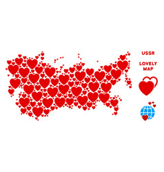 Romantic ussr map collage of hearts vector