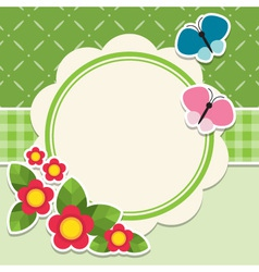 Round frame with flowers and butterfly vector image