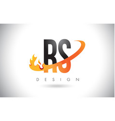 rs r s letter logo with fire flames design and vector image