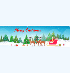 santa claus riding in sledge with reindeers merry vector image