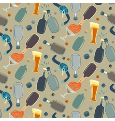 Seamless alco party time pattern vector image vector image