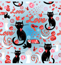 seamless festive pattern with lovers cats vector image