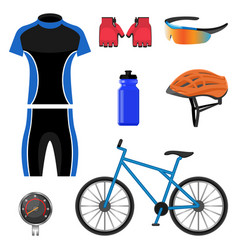set bicycling icons vector image