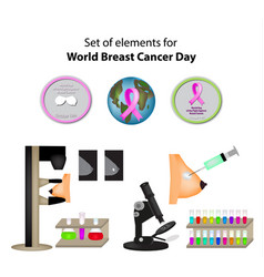 Set elements world breast cancer day mammography vector