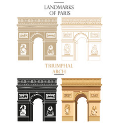 Set of triumphal arch landmark of paris vector