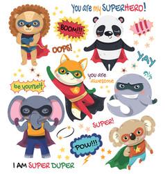 set six little cartoon animal super heroes vector image