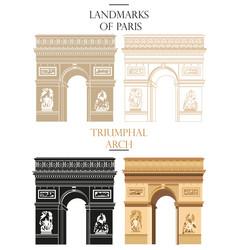set triumphal arch landmark paris vector image