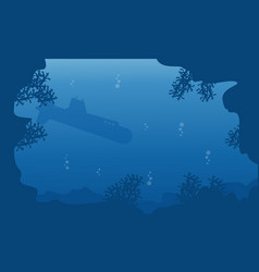 Silhouette of submarine on blue sea landscape vector