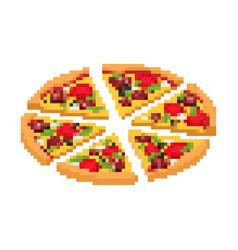 Slice pizza pixel art fast food 8bit video vector