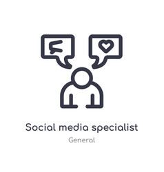 Social media specialist outline icon isolated vector
