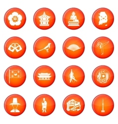 South Korea icons set vector