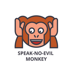 speak no evil emoji line icon sign vector image