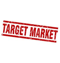 Square grunge red target market stamp vector