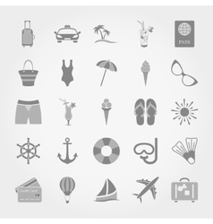 Summer travel and vacation icon set vector image