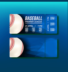 ticket tear-off coupon on baseball match vector image