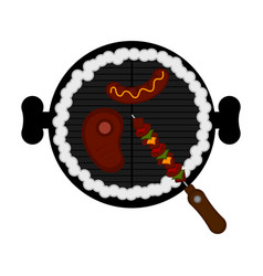 top view of a barbecue grill vector image