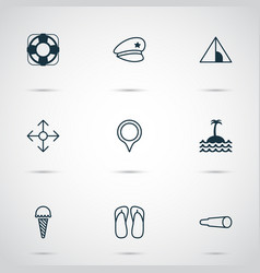 travel icons set with police cap navigation ice vector image