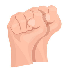 two fist up icon cartoon style vector image