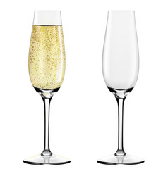 Two glasses of champagne merry christmas and vector
