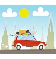 Vacation travel by car on sunset background vector