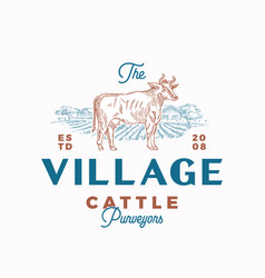 village cattle abstract sign symbol or vector image
