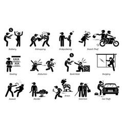 Violence violent crime and criminal pictograph vector