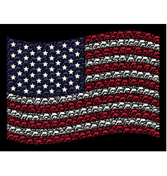 Waving american flag stylization of dolphin vector