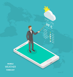 weather forecast online flat isometric vector image